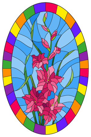 Illustration in stained glass style flower of pink gladiolus on a blue background in a bright frame,oval  image Иллюстрация