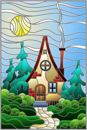 Illustration in stained glass style with a lonely house on a background of green forest and sky