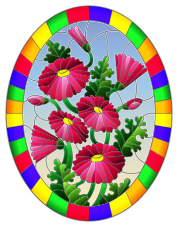 Illustration in stained glass style with a bouquet of pink daisys on a blue sky background in a bright frame, oval image