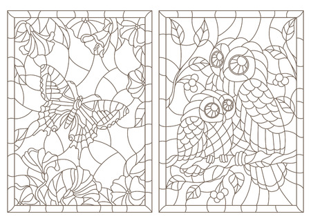Set of contour illustrations of stained-glass Windows with a butterfly and owls, dark contours on a white background