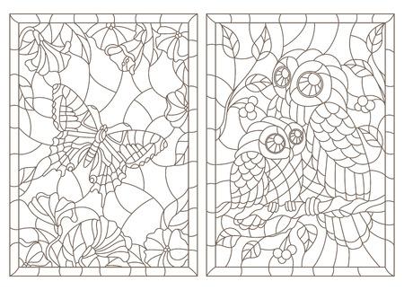 Conjunto de ilustraciones de contorno de vidrieras con una mariposa y búhos, contornos oscuros sobre un fondo blanco.