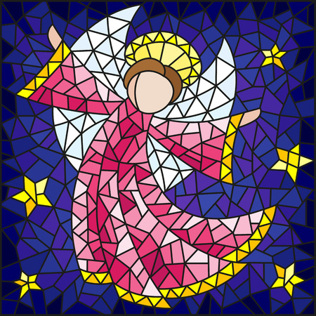 Illustration in the style of a stained glass window abstract angel in pink robe on a background of sky and stars