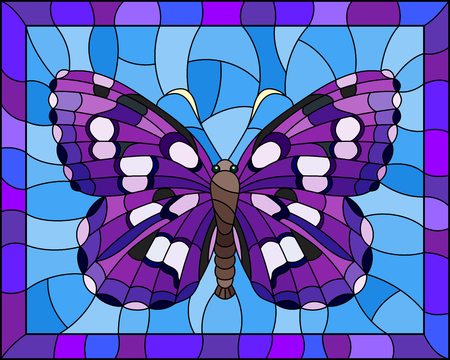 Illustration in stained glass style with bright purple hawk moth on a blue background in a bright frame