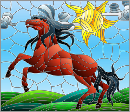 Illustration in stained glass style with wild horse on the background meadow,sun and sky