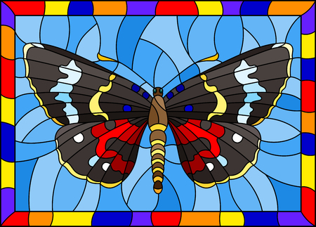 Illustration in stained glass style with bright dark moth on a blue background in a bright frame