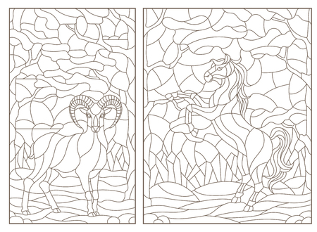 Set of contour illustrations of stained glass Windows with wild sheep and horse on a background of forest landscape, dark contours on a white background