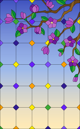Illustration in stained glass style with a branch of a flowering tree on a window and sky background Illustration