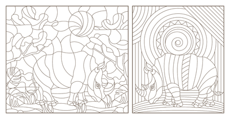 Set of contour illustrations of stained glass Windows with rhinos, dark contours on a white background
