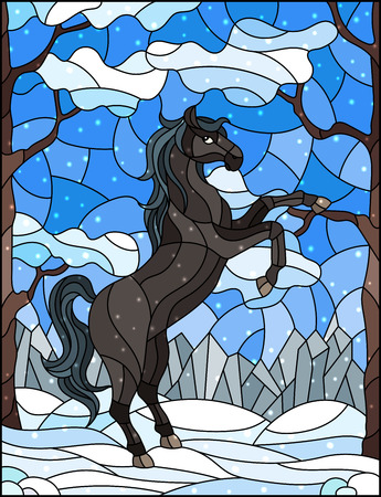 Illustration im Buntglasstil mit wildem Pferd auf dem Hintergrund von Bäumen, Bergen und Himmel, Winterlandschaft