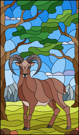 Illustration in stained glass style with wild RAM on the background of trees, mountains and sky