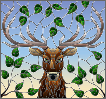 Illustration in stained glass style with deer head,on the background of tree branches and the sky, a rectangular image