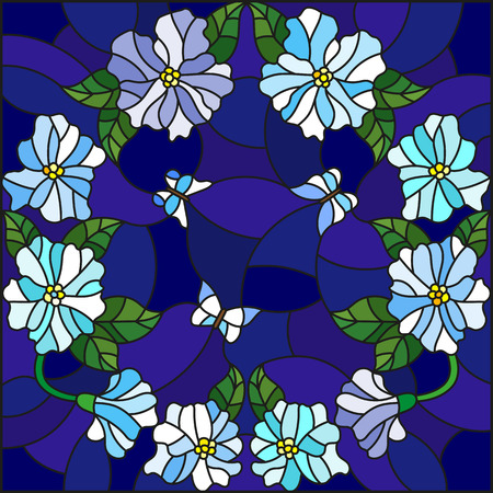 Illustration in stained glass style with light flowers in a circle and butterflies on a dark blue background