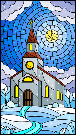 Illustration in stained glass style with Church on the background of winter landscape, a Church on the background of the Sunny sky and snows