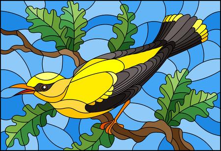 Illustrazione nello stile del vetro colorato con un bellissimo uccello giallo su uno sfondo di un ramo di albero e cielo Vettoriali