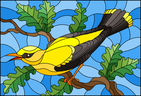 Illustration in the style of stained glass with a beautiful yellow bird  on a  background of branch of tree and sky Illustration