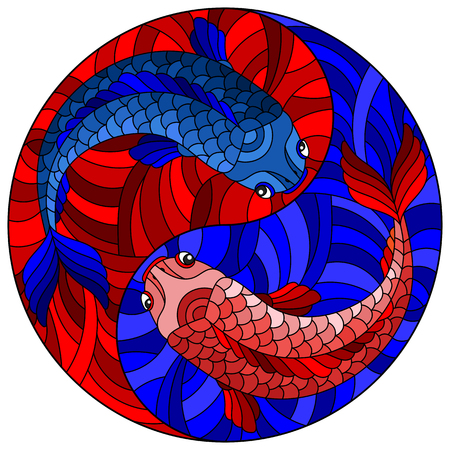Illustration in stained glass style with two fishes on the background of water  in the form of the Yin Yang sign
