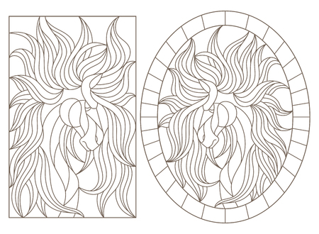 Set of contour illustrations of stained-glass Windows with horses, oval and rectangular image, dark contours on a white background Illustration