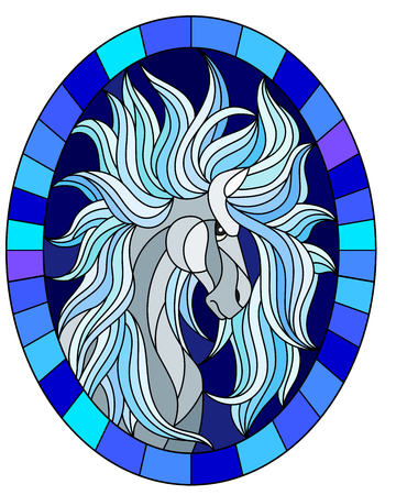 Illustration in stained glass style with abstract white  horse on a blue background framed in oval picture