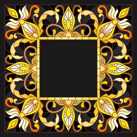 Illustration in stained glass style frame with floral,golden flowers and leaves on a dark background,rectangular image Illustration