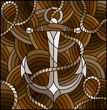 Illustration in stained glass style with ship anchor and rope on the background of waves, tone brown