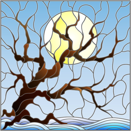 Illustration in stained glass style with winter tree on sky background with  snow and sun