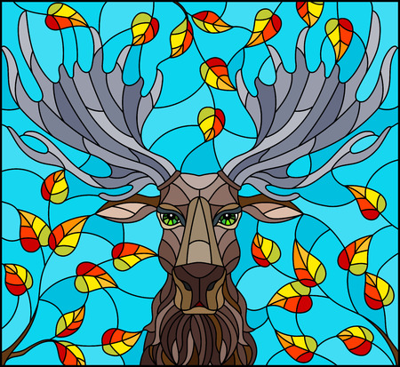 Illustration in stained glass style with moose head,on the background of autumn tree branches and the sky, a rectangular image
