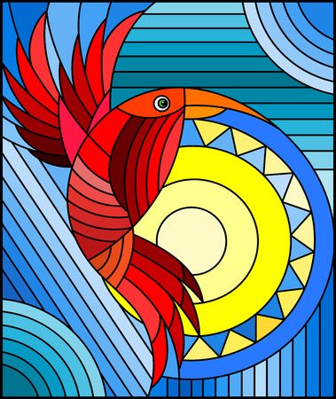 Illustration in stained glass style with abstract geometric red bird on a blue background