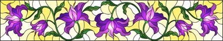 Illustration im Buntglasstil mit Blumen, Blättern und Knospen von lila Lilien auf gelbem Hintergrund
