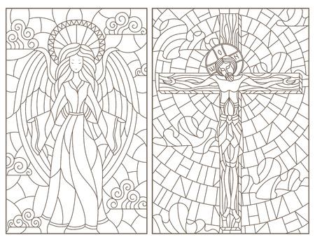 Set di illustrazioni di contorno di finestre in vetro colorato su tema religioso, Gesù Cristo e angelo, contorni scuri su sfondo bianco