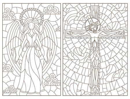 Set of contour illustrations of stained glass Windows on religious theme, Jesus Christ and angel, dark contours on white background