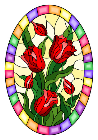 Illustration in stained glass style with a bouquet of red tulips on a yellow background in a bright frame, oval image Illustration
