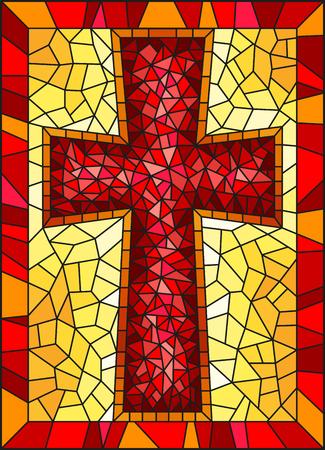 Die Illustration in Buntglasmalerei zu religiösen Themen, Buntglasfenster in Form eines roten christlichen Kreuzes, auf gelbem Hintergrund mit Rahmen