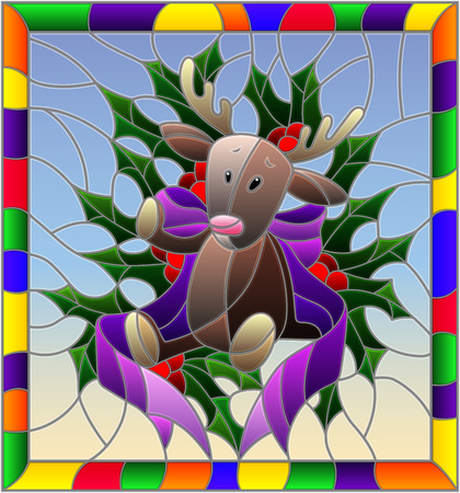 Illustration in stained glass style for New year and Christmas, plush moose, Holly branches and ribbons on a blue background in a bright frame Illustration