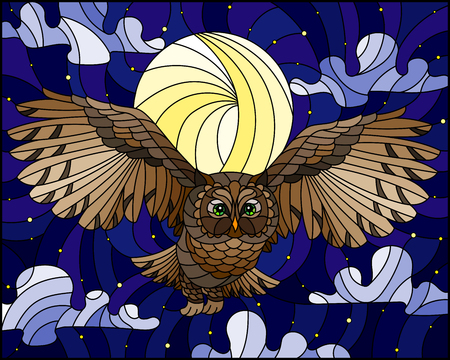 Illustration in stained glass style with wild owl flying against the starry  sky and moon 矢量图像
