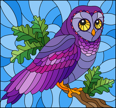 Illustration in stained glass style with fabulous colourful owl sitting on a tree branch against the sky Ilustração