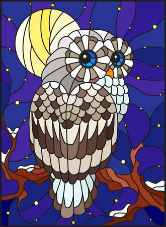 Illustration in stained glass style with white polar owl sitting on a tree branch against the starry sky and the moon