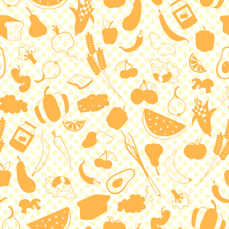 Seamless pattern on the theme of vegetarianism, grocery icons, simple orange silhouettes icons on a white polka dot background Illustration