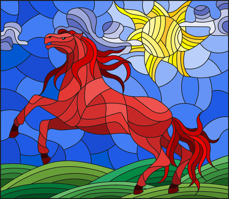 Illustration in stained glass style with wild red horse on the background meadow,sun and sky Çizim