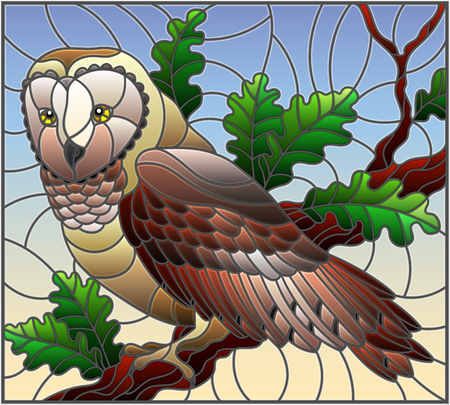 Illustration im Buntglasstil mit wilder Eule, die auf einem Eichhimmelhintergrund des Astes sitzt