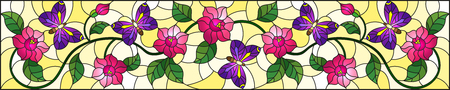 Illustration in stained glass style with abstract curly pink flower and a purple  butterfly on yellow background , horizontal image 矢量图像
