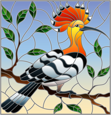 Illustration in stained glass style with hoopoe bird sitting on a tree branch against the sky