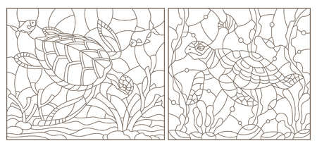 Set of contour illustrations of stained glass Windows with turtles on the background of the seabed, dark contours on a white background Ilustração