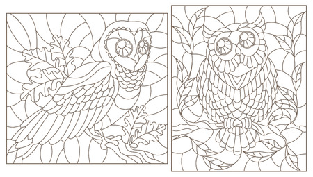 Set of contour illustrations with owls, dark contours on white background Ilustração