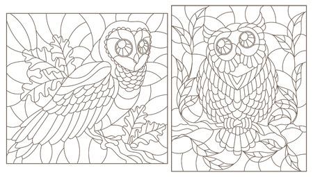 Set of contour illustrations with owls, dark contours on white background Illustration