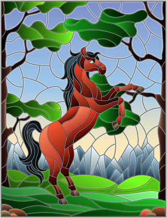 Illustration in stained glass style with wild horse on the background of trees, mountains and sky