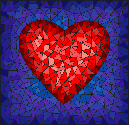 Illustration in stained glass style with abstract red heart on blue background, rectangular image