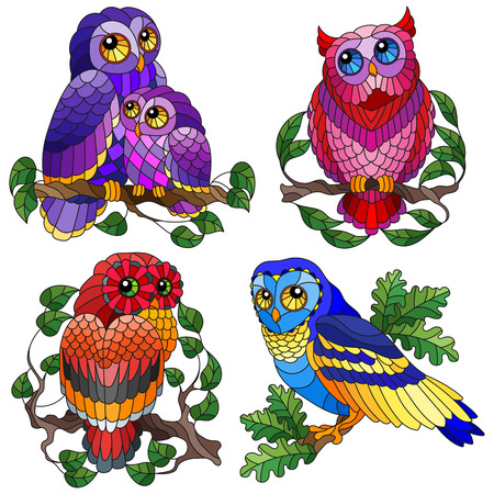 Set of contour illustrations of stained glass elements with owls sitting on tree branches, owls and branches with leaves isolated on white background