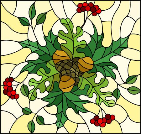 Illustrazione in stile vetrata con composizione floreale, foglie e frutti luminosi su sfondo giallo, immagine rettangolare