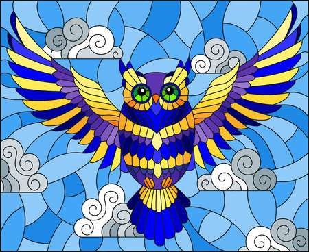 Illustration in stained glass style with abstract blue owl flying on sky background with clouds