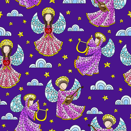 Seamless background with stained glass angels, clouds and stars on dark purple background
